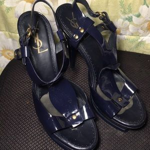 Yves Saint Laurent Royal blue open toe heels.